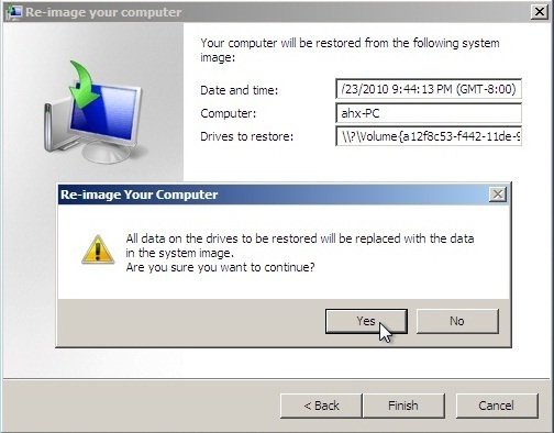 Win7 system recovery Image Restore