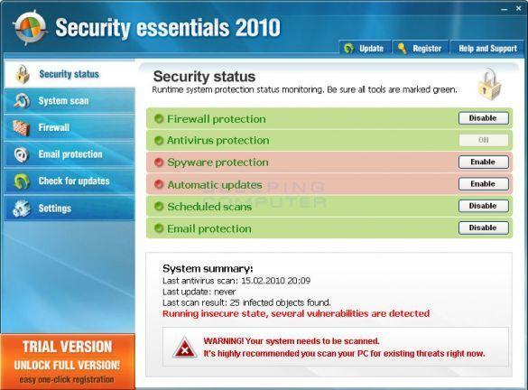 security essentials 2010 fake antivirus