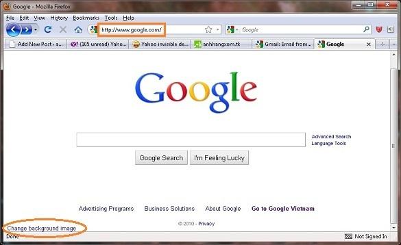 Thay doi hinh nen trang tim kiem Google