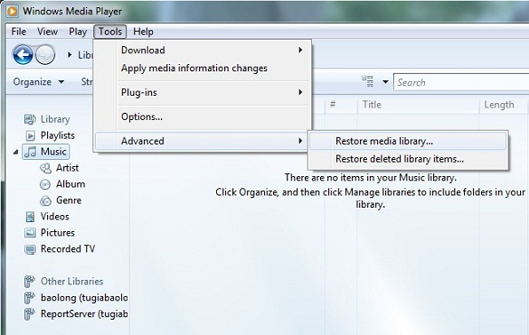 Restore Windows Media Player Library