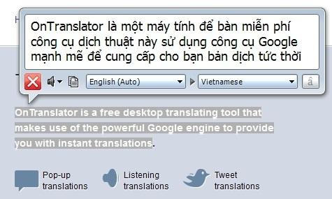 OnTranslator - Công cụ hỗ trợ dịch thuật tuyệt vời dựa trên Google Translate