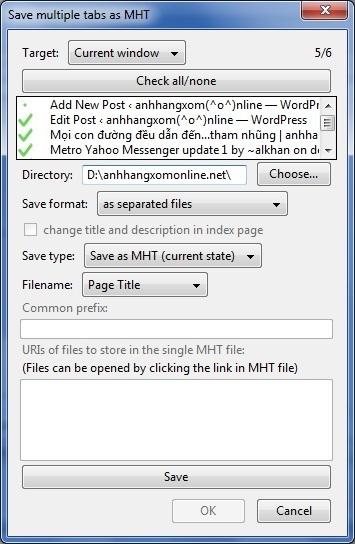 UnMHT - Lưu hàng loạt trang web đang mở cùng một lúc