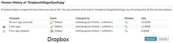 Sự khác nhau giữa hai dịch vụ đồng bộ dữ liệu : Dropbox và SugarSync