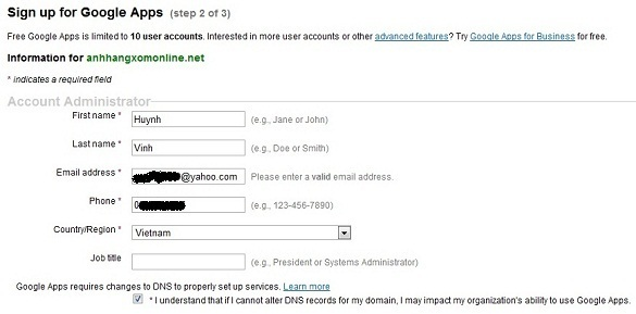 Tạo địa chỉ email với tên miền của chính bạn thông qua Google Apps
