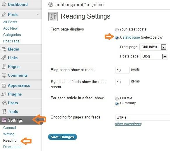Thay đổi trang chủ cho blog WordPress