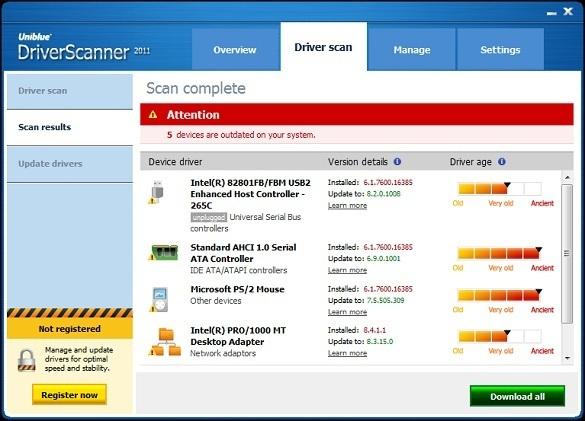 Uniblue Driver Scanner 2011 - Nhận key bản quyền miễn phí