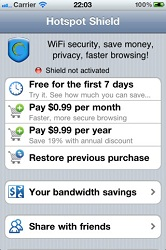 Hotspot Shield chạy trên iOS