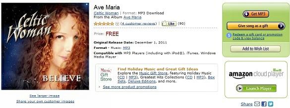 Mỗi ngày một bản nhạc Noel miễn phí tại amazon.com