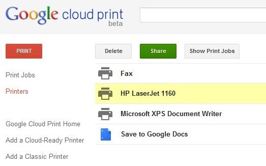 Chia sẻ máy in qua mạng Internet với dịch vụ Google Cloud Print