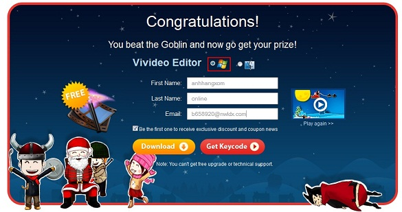 Giải cứu Santa và nhận key bản quyền phần mềm Wondershare Vivideo