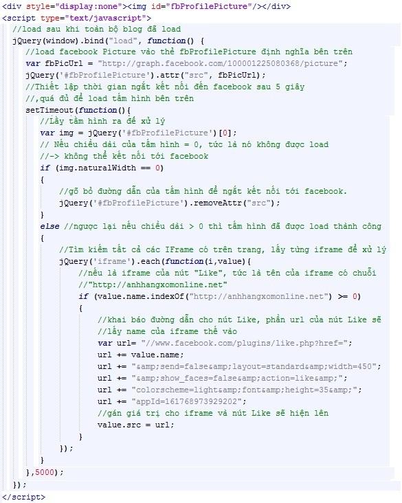 Load động các đoạn mã nhúng của facebook theo điều kiện