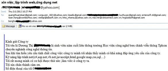 Những email xin việc cười ra nước mắt