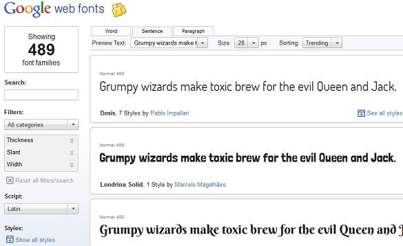 Tải và sử dụng Google Web Fonts cùng bộ font chữ Roboto