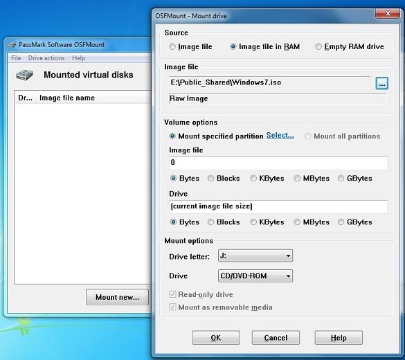 PassMark OSFMount - Biến file ảnh thành ổ đĩa với nhiều tính năng