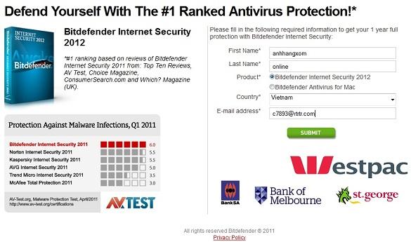 Bitdefender Internet Security 2012 - Nhận key bản quyền 1 năm miễn phí