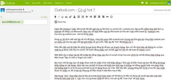 Outlook.com - Dịch vụ email mới của Microsoft