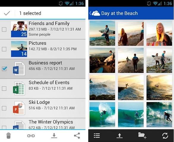 SkyDrive cho điện thoại Android chính thức phát hành