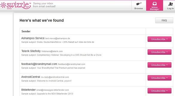 Swizzle Inbox Manager - Tự động quét email và unsubscribe