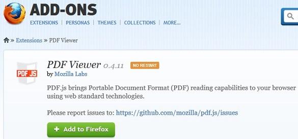 Đọc PDF trực tiếp trên Firefox 15