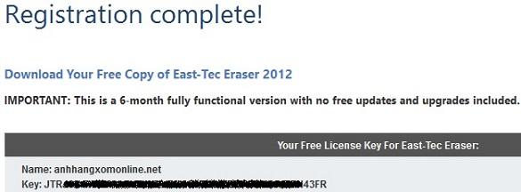 East-Tec Eraser 2012 - Nhận key bản quyền miễn phí