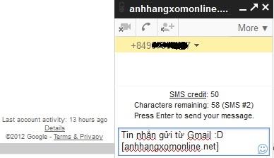 Gửi tin nhắn SMS miễn phí từ Gmail