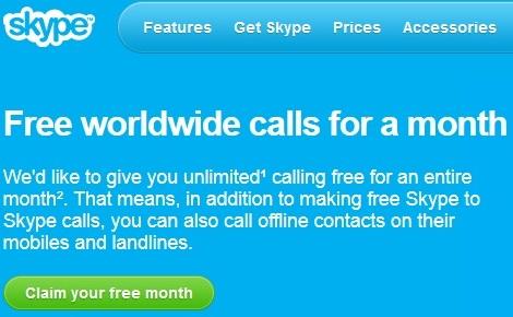 Gọi điện thoại miễn phí trong 1 tháng với Skype