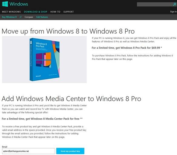 Nhanh tay nhận gói Windows 8 Media Center MIỄN PHÍ