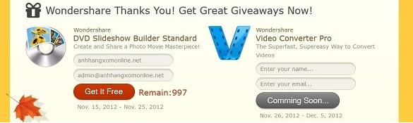 Wondershare DVD Slideshow Builder Standard - Nhận key bản quyền miễn phí