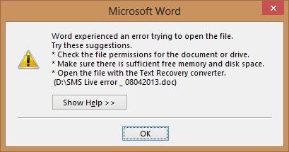Sửa lỗi không xem được file Word
