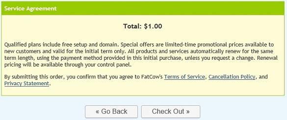 FatCow khuyến mãi gói hosting 12 tháng giá $1