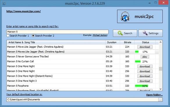 Music2PC - Tìm và tải nhạc quốc tế quá dễ