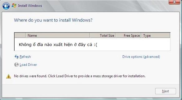 Khắc phục lỗi không thấy ổ đĩa khi cài Windows 7