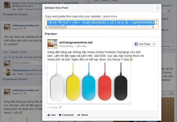 Facebook cập nhật tính năng nhúng bài post vào website