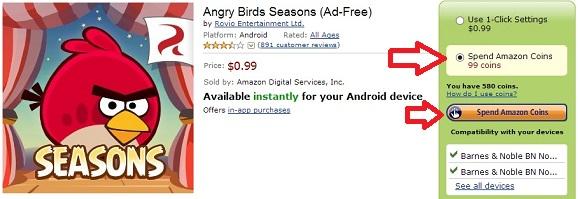 Nhận miễn phí 120 Coins để mua ứng dụng trên Amazon AppStore