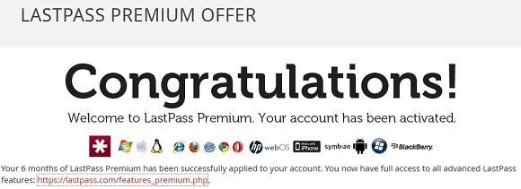 Miễn phí 6 tháng tài khoản Lastpass Premium