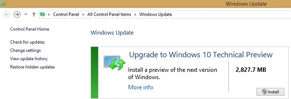 Cài Windows 10 Technical Preview từ Windows Update