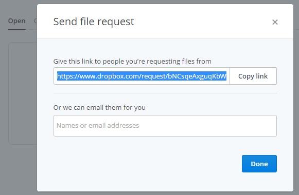 File requests - Dùng Dropbox làm nơi nhận file cá nhân
