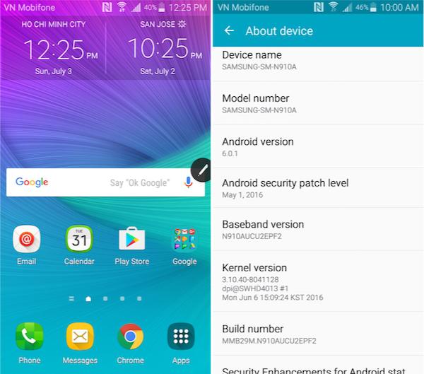 Nâng cấp Galaxy Note 4 AT&T SM-N910A lên Android 6 Marshmallow