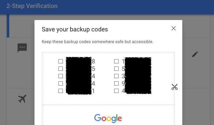 Google Save your backup code