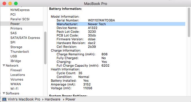 NewerTech NuPower Battery for Macbook Pro