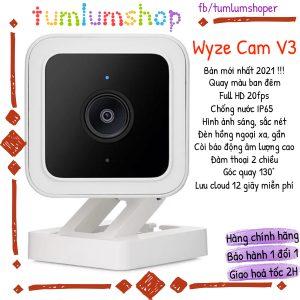 Wyze Cam v3 Camera - Bản 2021, FullHD 1080p, Quay màu ban đêm, chống nước, lưu cloud miễn phí